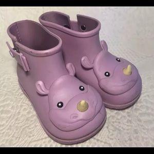 Mini Melissa lavender rhinoceros rain boots